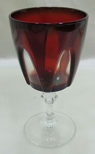 Vintage Crystal Water Goblet Wine Glass Ruby Red with Clear Panels FRANCE