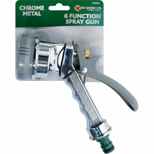 6 Function Chrome Metal Spray Gun Multi Pattern Garden Hose Pipe Water Sprayer