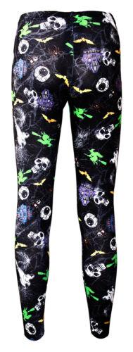 Kids Girls Skulls Ghosts Web Spider Halloween Print Leggings Size 5-10 Years