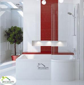 badewanne badewannenabtrennung duschwand glas eckwanne rechteck 170x70 cm rechts ebay. Black Bedroom Furniture Sets. Home Design Ideas