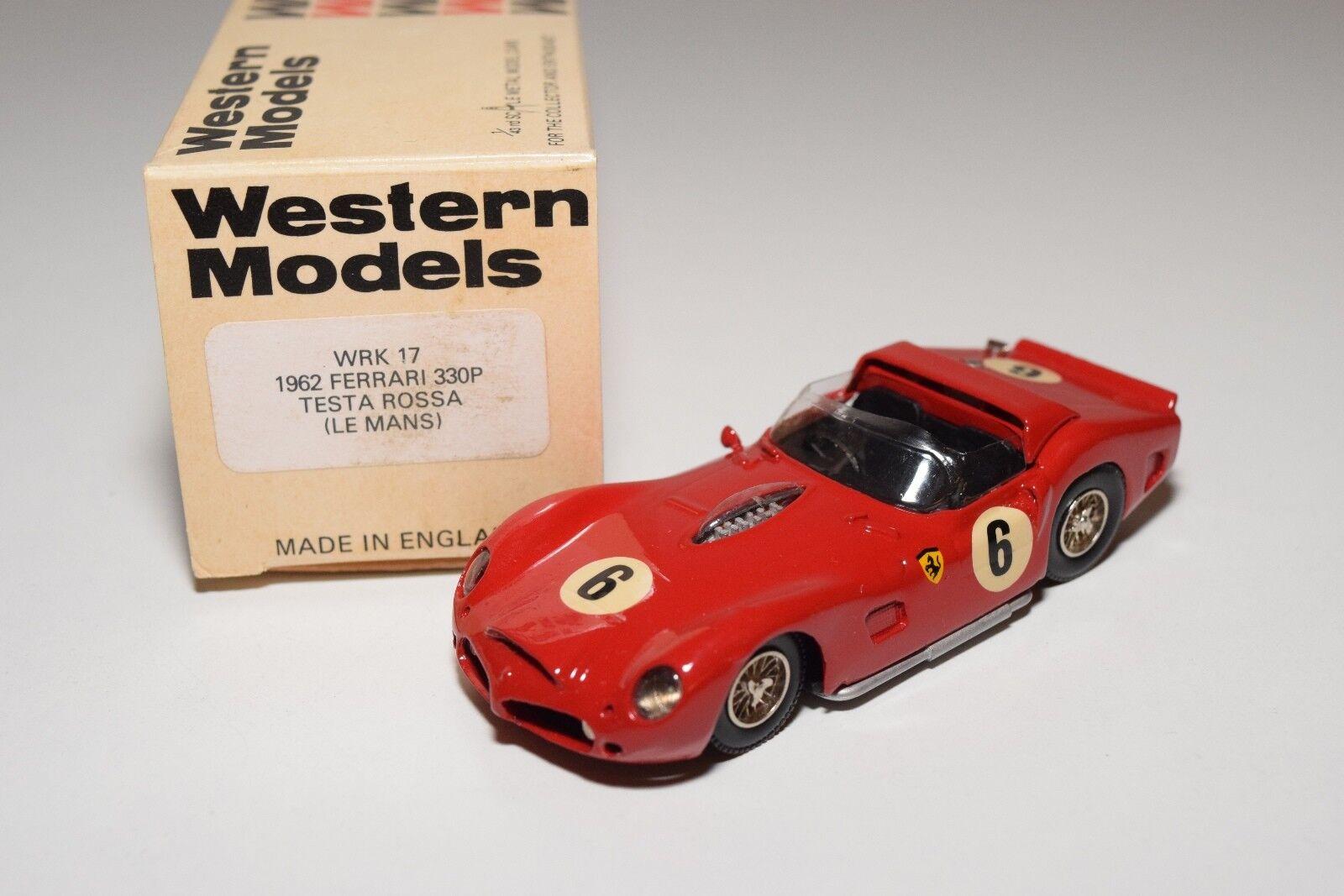I I I WESTERN MODELS WM WRK 17 1962 FERRARI 330P TESTA ROSSA LE MANS RED MINT BOXED 8bf10f