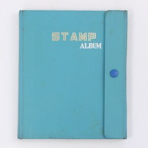 Vintage-Blue-Stamp-Album-Stock-Book-with-some-Stamps-Made-in-Hong-Kong