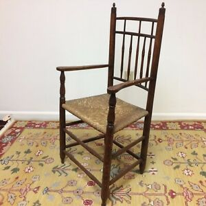 Wonderful-19th-C-Bird-Cage-Arm-Chair-With-Turned-Beehive-Finials-Old-Finish