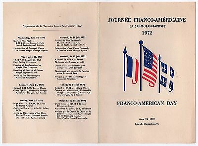 1972 Lowell Massachusetts Franco American Tag Programm Französisch Frankreich Direktverkaufspreis