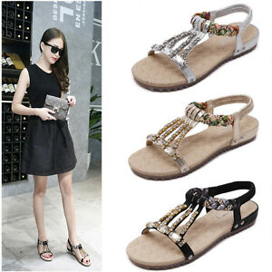 c9f74ae46 Women New Summer Bohemia Beads Flip Flop Flat Sandal Crystal Thong ...
