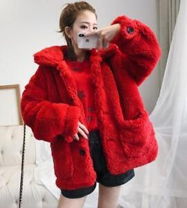Bottone moda pelliccia sintetica imbottite Cappotto tasche Sz risvolto in rossa Sbox donna Parka TYqaAwX