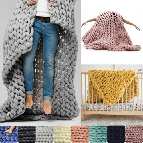 Hot Merino Wool Chunky Knit Blanket Chunky Arm Knit Throw Knitted Blanket