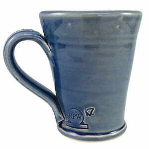 Rowe Pottery Works Blue Mug Coffee Cup Handmade Handthrown Stoneware RPW Vintage