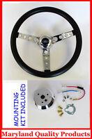 Ford Falcon Thunderbird Galaxie Gt Retro Steering Wheel Black 14 1/2 Ford Cap