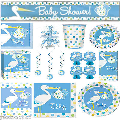 Baby Shower Blue Stork Special Blue Boy Party Supplies Tableware Decorations