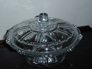 Vintage-Kig-Indonesia-Crystal-Clear-Glass-Covered-Candy-Dish-Bowl
