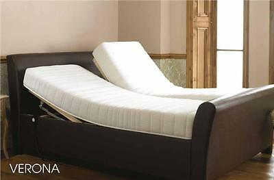 Leather Verona electric adjustable Sleigh Bed Dual 5ft or 6ft Memory Handset