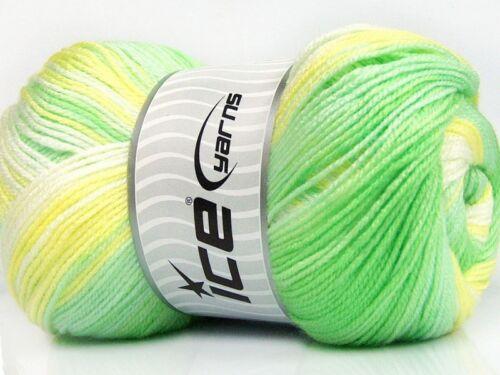 100gr Magic Baby #50003 Greens Yellow White Acrylic Yarn 393yds