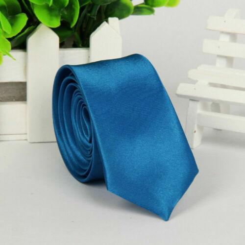 Mens Fashion Fit Necktie Solid Skinny Tie Formal Wedding Party Ties Multicolor