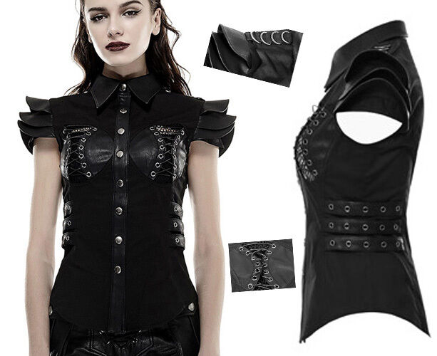 Chemise top haut gothique punk lolita militaire épaulettes armure sexy Punkrave