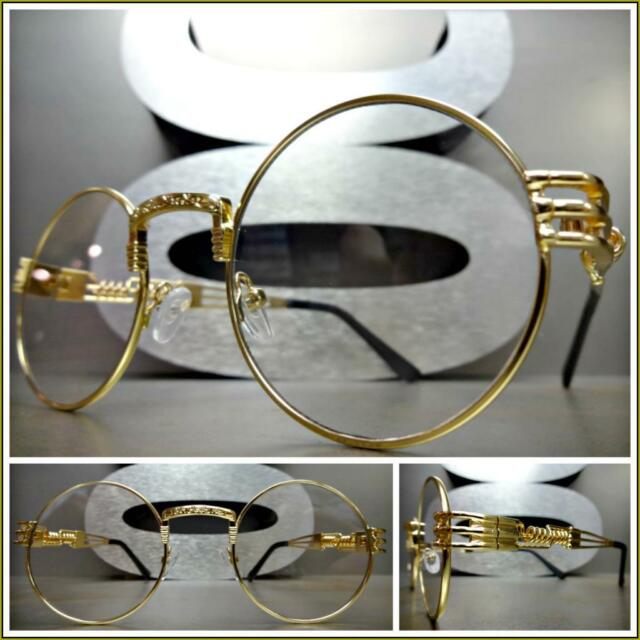aa15d286337 Mens CLASSIC VINTAGE RETRO Style Clear Lens EYE GLASSES Round Gold Fashion  Frame