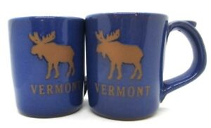 Vermont-Moose-Pottery-Set-of-2-Coffee-Cups-Blue-Rustic-Mountain-Country-Cabin