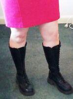 Vintage 90s Dr Martens Black Leather 20 Eye Knee High Boots UK 6 (AUS 8-8.5)