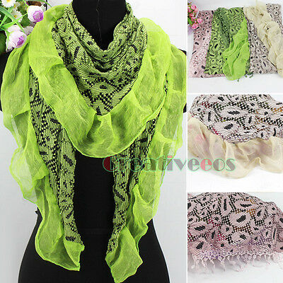 Fashion Dot Hollow Out Flocking Lace Trim Tassel/ Ruffle Triangle Scarf 2 Style