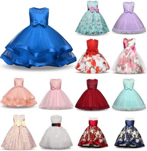 Fleur Fille Robe De Princesse Bébé Kids Party demoiselle d/'honneur formelle courte Tutu Robes