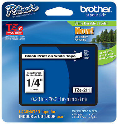 10PK Black on White TZ TZe 211 1//4/'/' Label Tape For Brother P-touch PT-D450 H110
