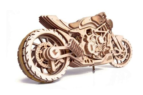 Mechanical Puzzle Wood Trick 3D Model MOTORCYCLE DMS Wooden self-assembly