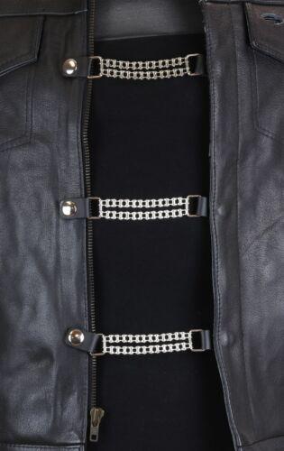 Double Bike Chain Vest Extender Extension MC Bikers Jacket Motorcycle 3 Pc