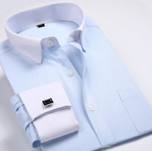 Mens-Long-Sleeves-Shirts-Dress-Slim-Fit-French-Cuff-Formal-With-Cufflinks-WS6347