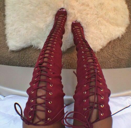 SUPER Women Over the Knee Boots Faux Suede Boots Adjustable shoeslace Big Size 15