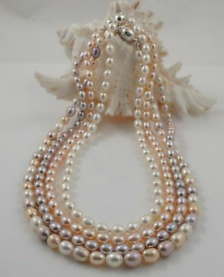 Gorgeous Natural White Fresh Water Pearl 6 Strands Bracelet With Magnetic Clasp