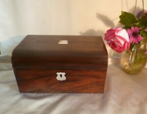 19th-Century-Victorian-Antique-Rosewood-Box-with-Domed-Lid-amp-Mother-of-Pearl