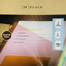 In Place Binder Pockets Assorted Colors 5 Pack Single Pocket 3 Hole Punch