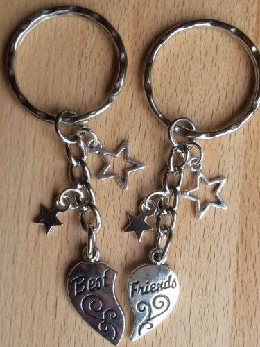 Set of 2 Friendship Keyrings Best Friends Gift Choice of Heart Stars Flowers