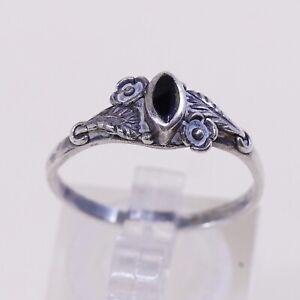 Sz-8-Vtg-Sterling-Silver-Handmade-Ring-925-Band-W-Obsidian-N-Bali-Beads