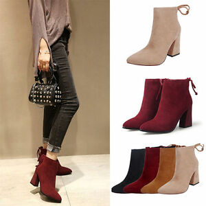 00dc11e3b8c Women s Block High Heel Ankle Boots Platform Pop Pointed Toe Shoes ...