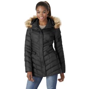 Marc NY Womens Plus Renee Chevron Hooded Down Jacket Black 3X #NJ1FR-478