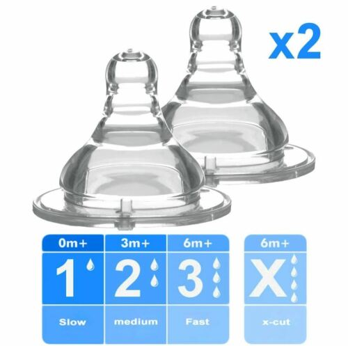 Baby Ono 2x Pcs Bottle Teat Nipple for Wide Neck Bottle Various Flow Rates