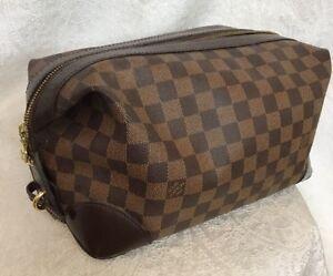 e0c385a153 Details about Louis Vuitton Toiletry Bag Brown Damier Zipper Travel Bag  Medium Size