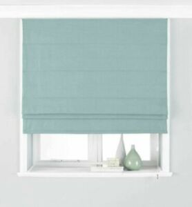 PLAIN WOVEN DUCK EGG BLUE BLACKOUT LINED ROMAN BLIND 5 SIZES