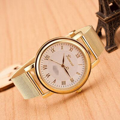 Fashion Geneva Classic Alloy Net Band Quartz Men Women Luxury Wrist Watch - CS2