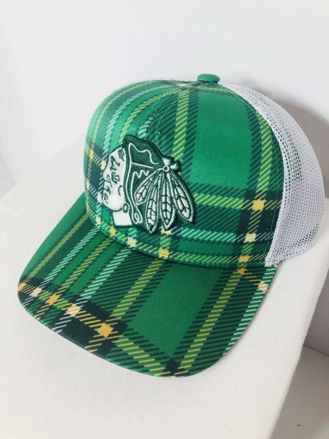 2c7e64b31cd Adidas Chicago Blackhawks Green   White St. Patrick s Day Trucker  Adjustable Hat