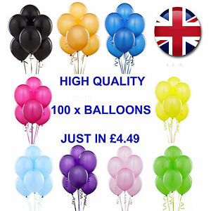 100 Groß Schlicht Balons Ballons Helium Qualität Geburtstag Hochzeit
