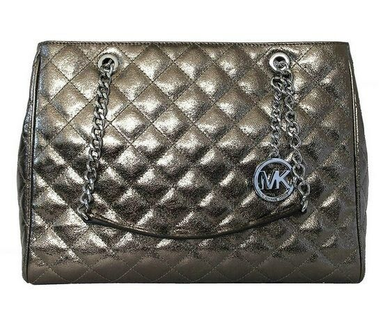 92f8a6c0bb8d Michael Kors Susannah Large Quilted Tote Nickel 35h6maht3m Authentic ...