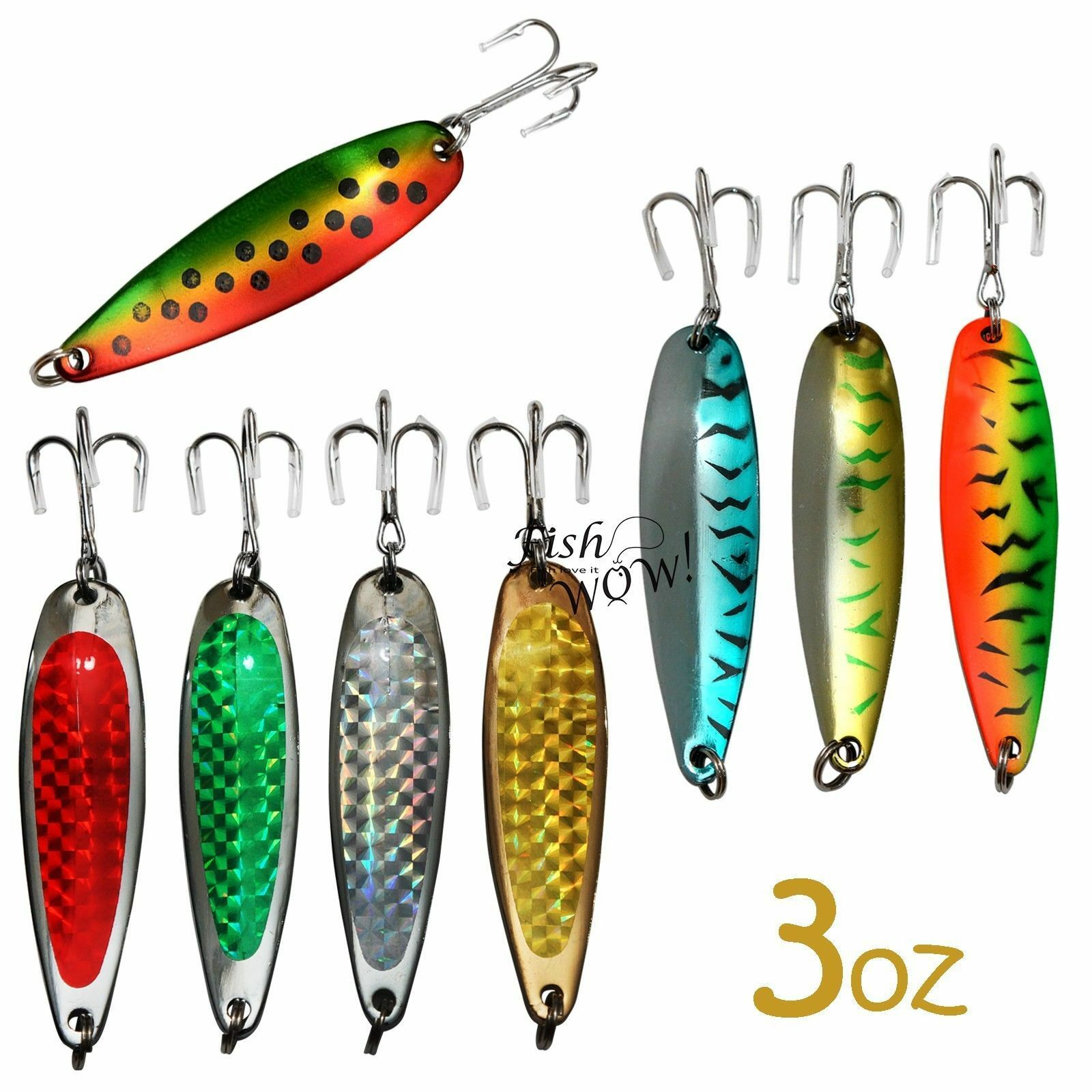 10pcs 3oz Random colors Fishing Spoons Treble Hook Casting Metal Fish Jigs New