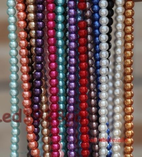 Various Color Beauty Round Glass Pearl Spacer Beads DIY Jewelry 4mm 6mm 8mm 10mm