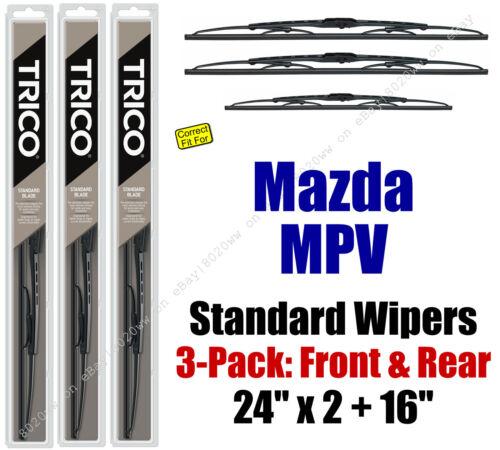 Wiper Blades 3pk Front Rear Standard 30240x2//160 fit 2000-2006 Mazda MPV