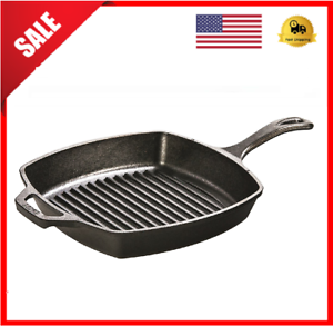 CAST-IRON-GRILL-PAN-Lodge-Pre-Seasoned-Steak-Bacon-Grilling-Square-Skillet-10-5-034