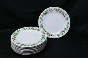 China-Pearl-Noel-Xmas-Dinner-Plates-10-5-034-Lot-of-8-Brown-Back-Stamp