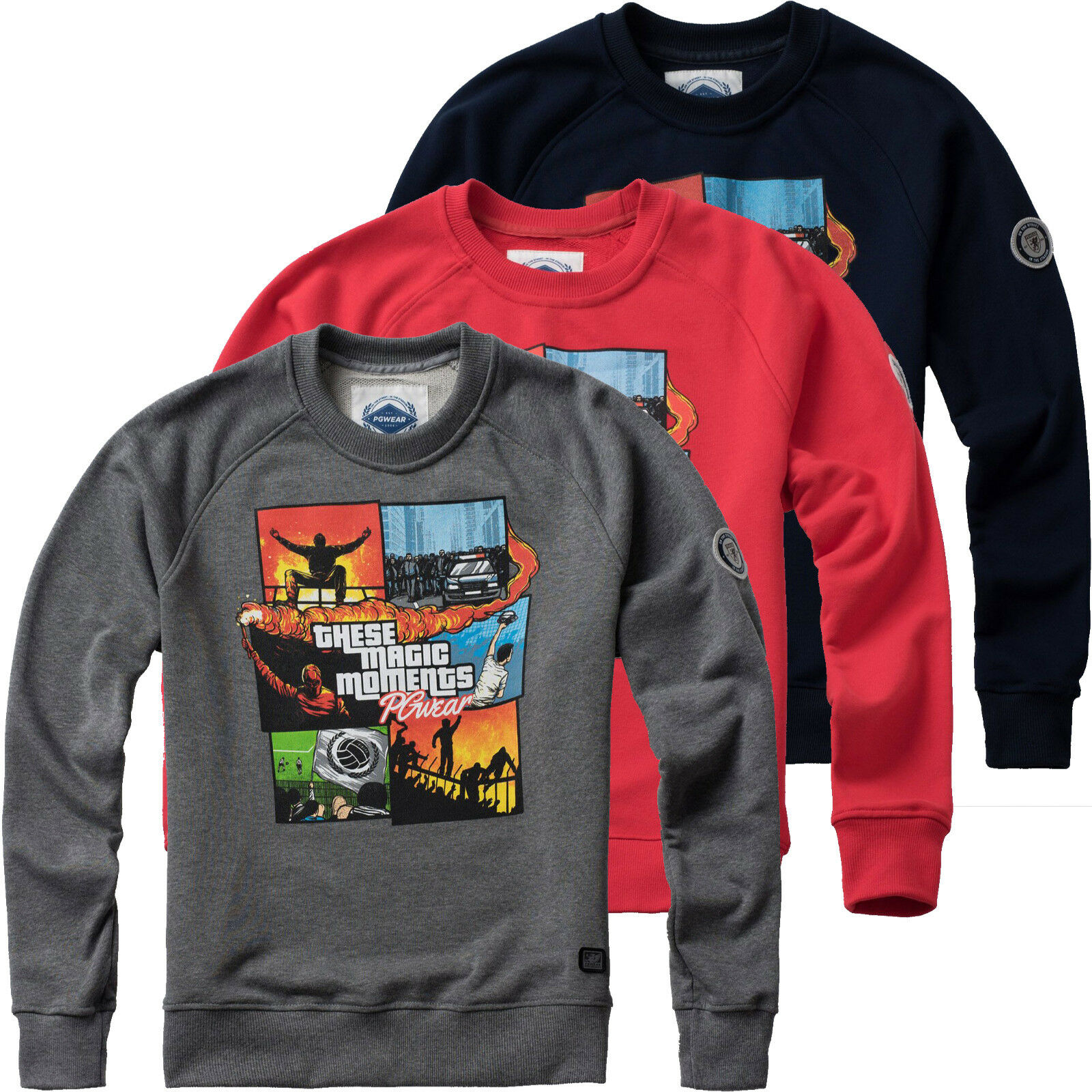 Pgwear Uomo Felpa these Magic Moments Pullover Sweater Rosso Grigio Navy