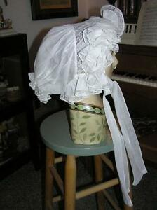 Victorian late 1880's LIttle Girls Batiste Belgium White Lace Bonnet Stunning!